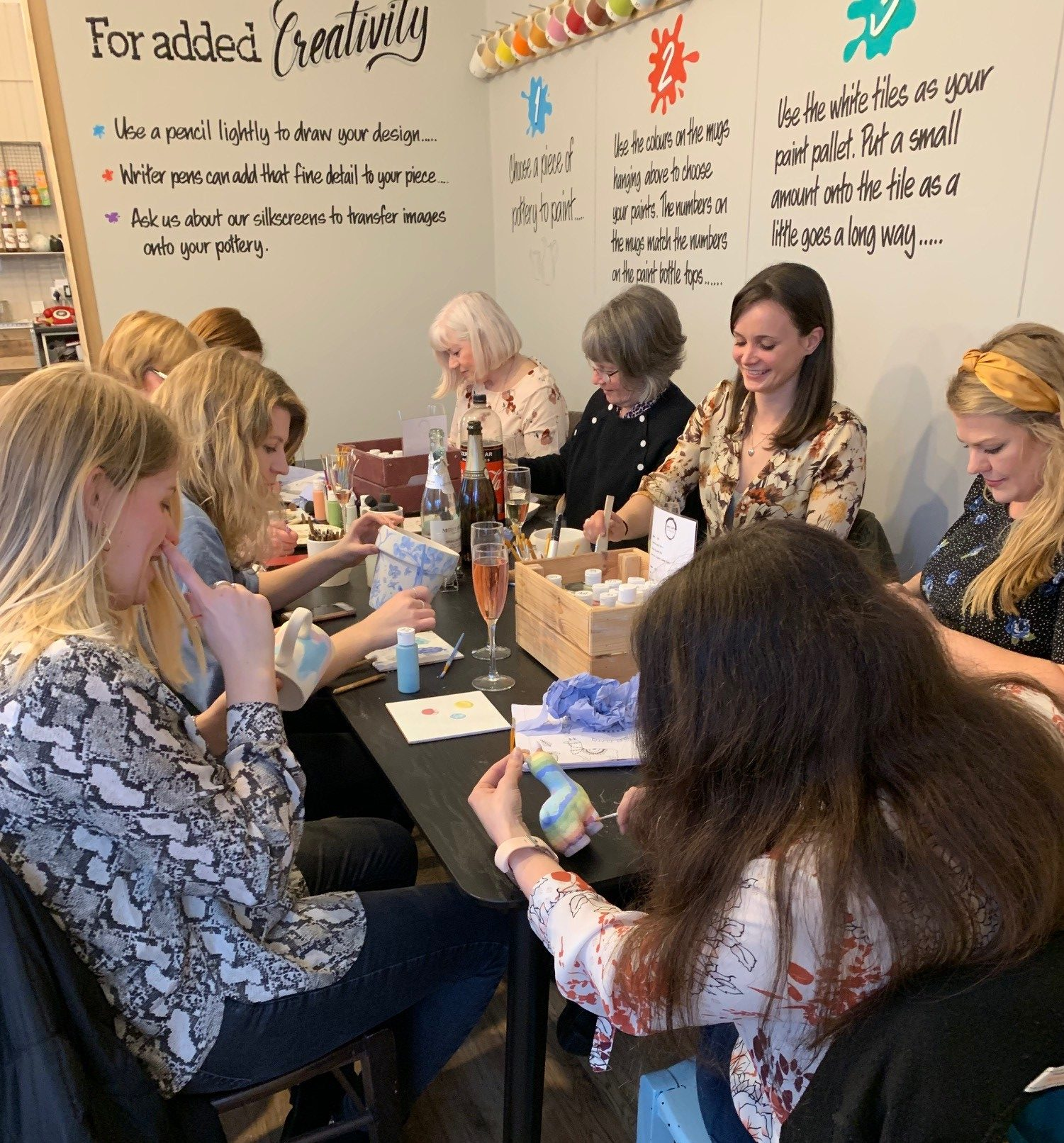 Baby shower pottery painting party